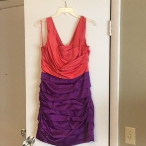 Salmon and purple silk fitted Express Dress